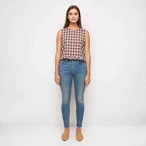 High Rise Ankle Crop Jean - Medium Vain