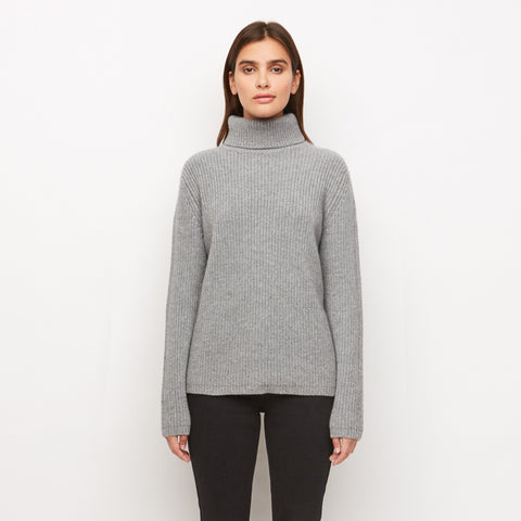 Cashmere Turtleneck - Heather Grey