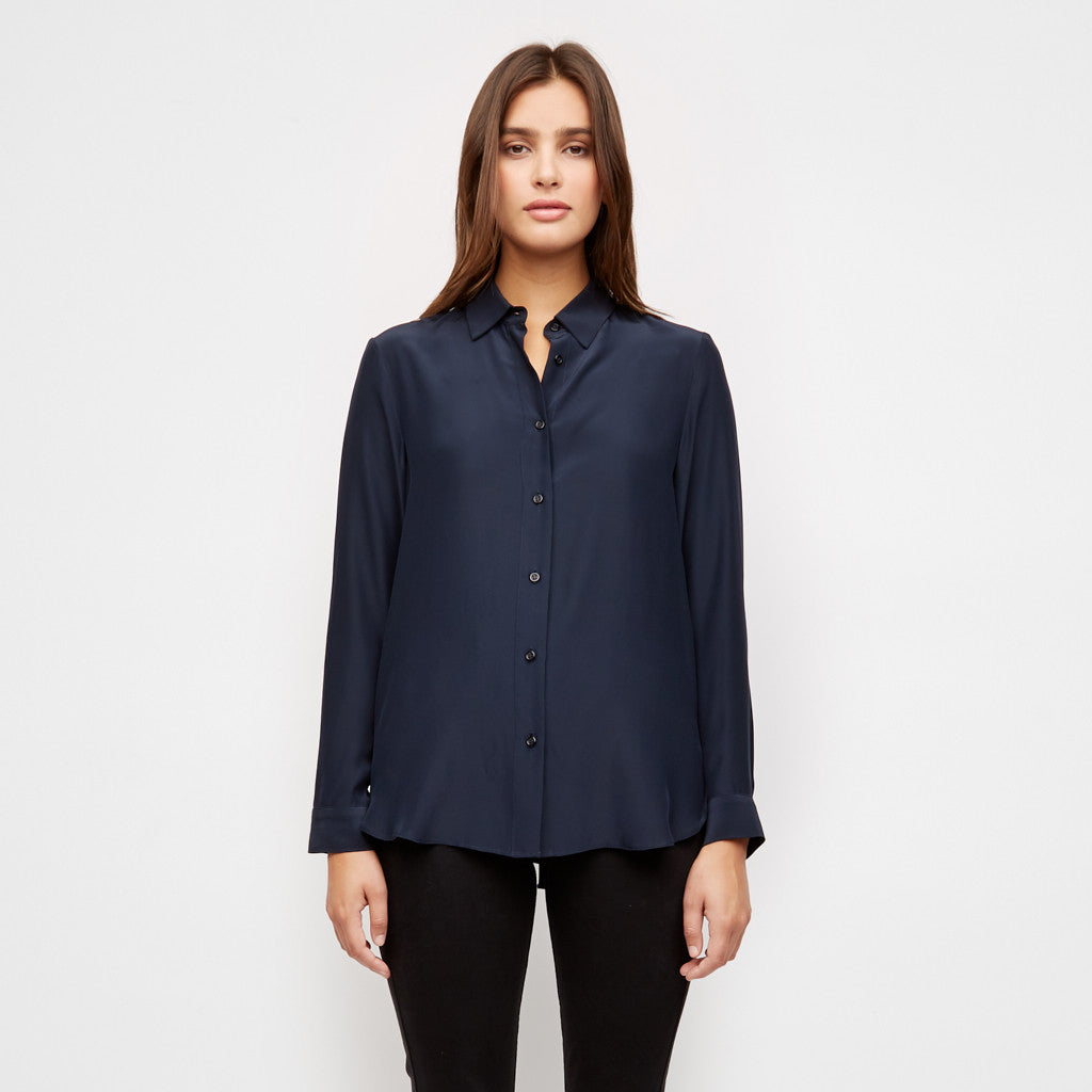 Satin Boyfriend Shirt - Navy