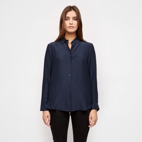Satin Placket-Back Boyfriend Shirt - Navy