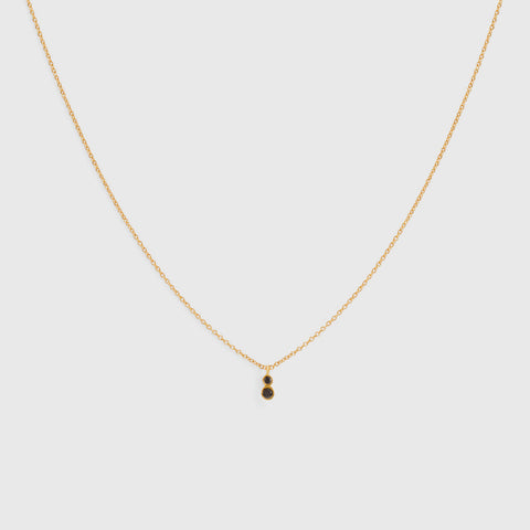 Double Black Diamond Necklace - 18K Gold