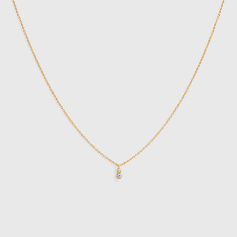 Double White Diamond Necklace - 18K Yellow Gold