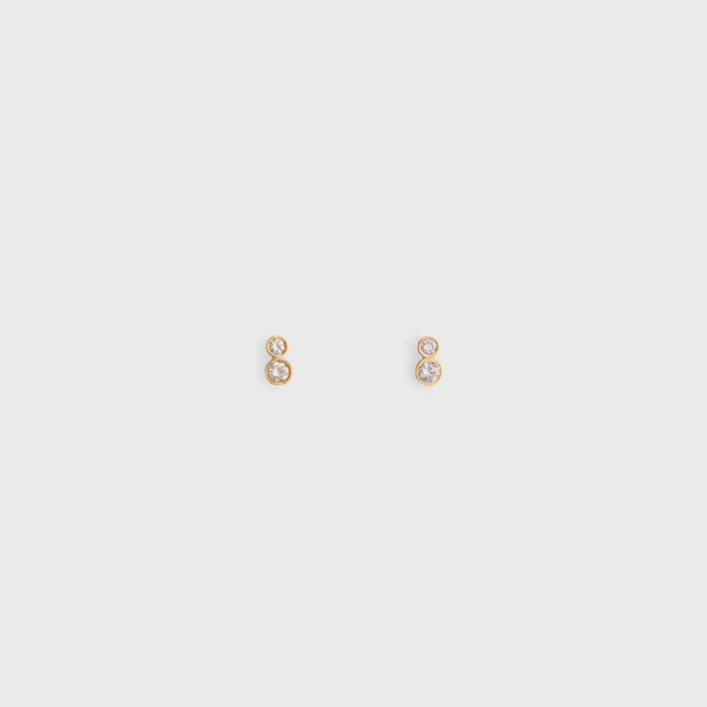 Double White Diamond Studs - 18K Yellow Gold