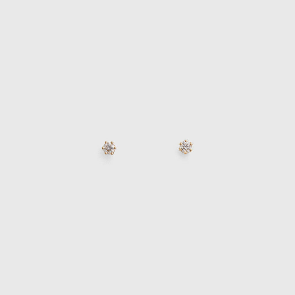 Baby White Diamond Stud Earrings - 14K Gold