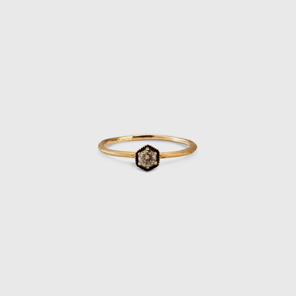 Brown Diamond Hexagon Ring - 18K Gold