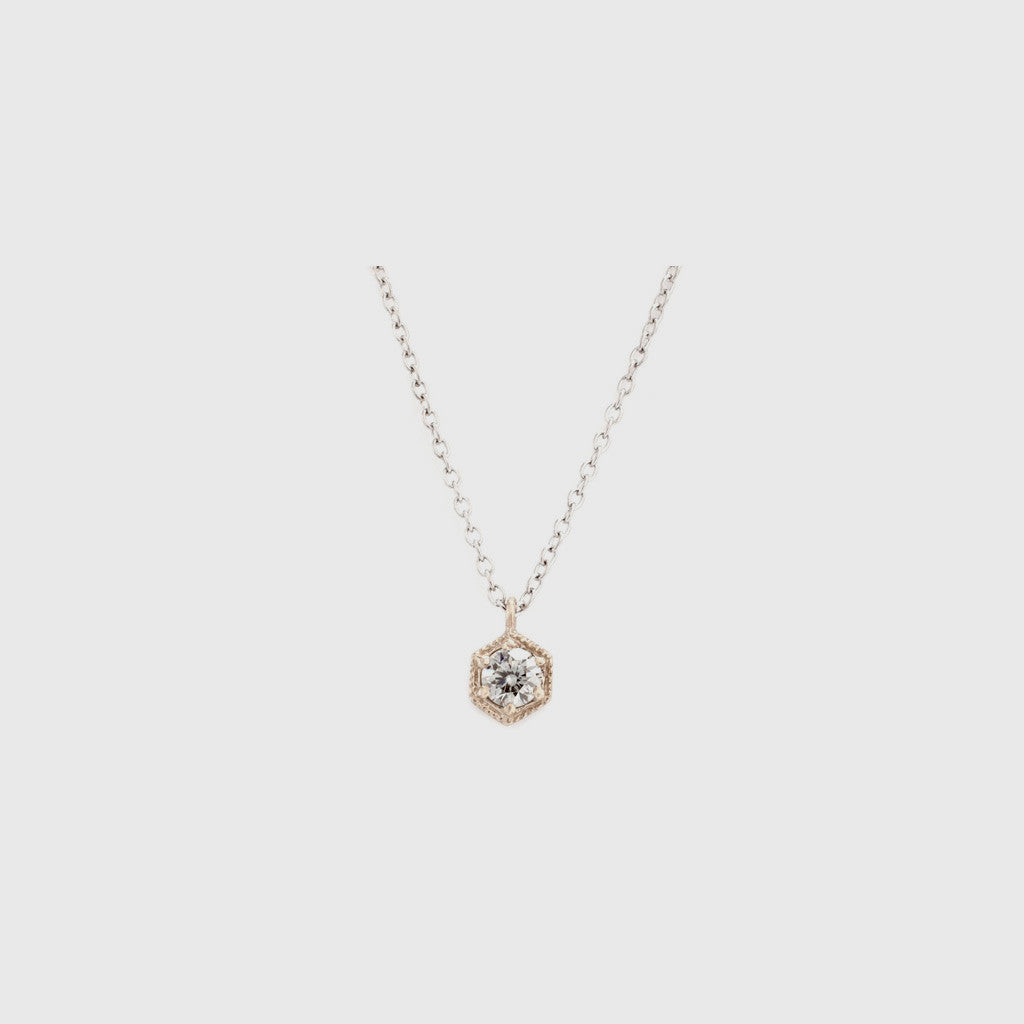 White Diamond Hexagon Necklace - 18K Gold