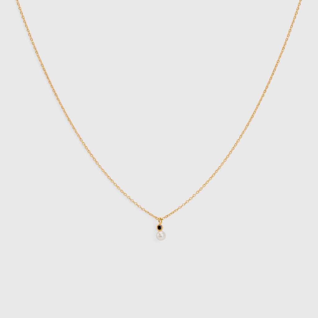 Mixed Media Pearl/Black Diamond Necklace - 18K Yellow Gold