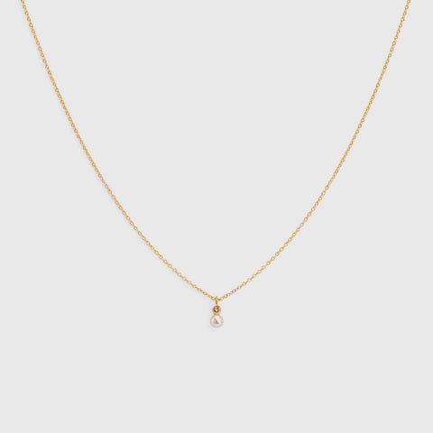 Mixed Media Pearl/Brown Diamond Necklace - 18K Yellow Gold