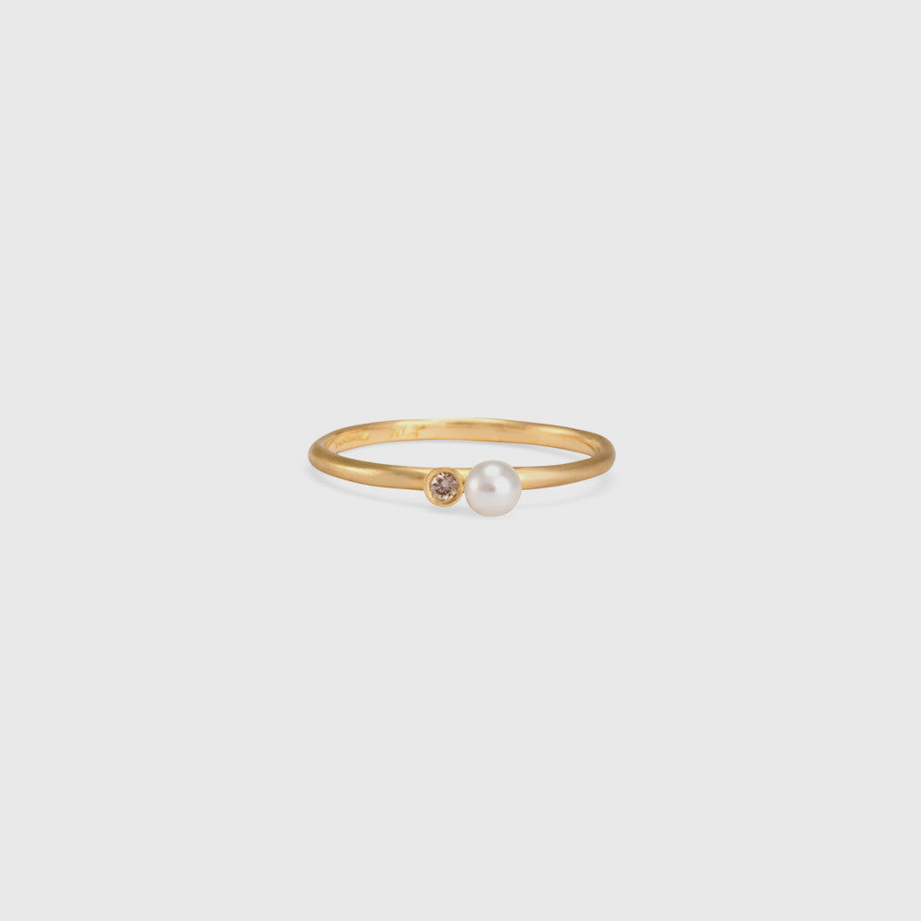Mixed Media Pearl with Brown Diamond Ring - 18k Yellow Gold