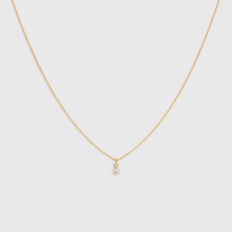 Mixed Media Pearl/White Diamond Necklace - 18K Yellow Gold