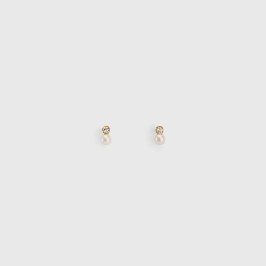 Mixed Media Pearl/White Diamond Studs - 14K Yellow Gold