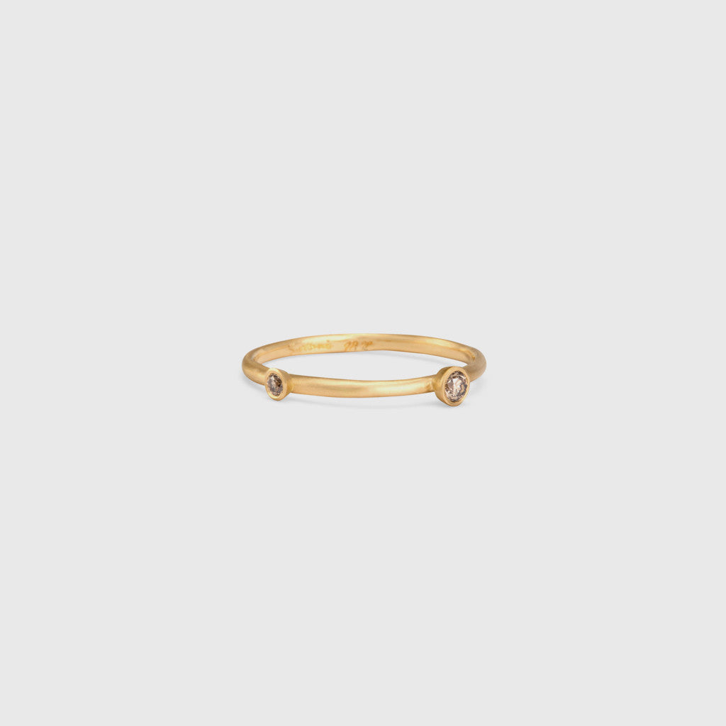 Peripheral Double Brown Diamond Ring - 18k Yellow Gold