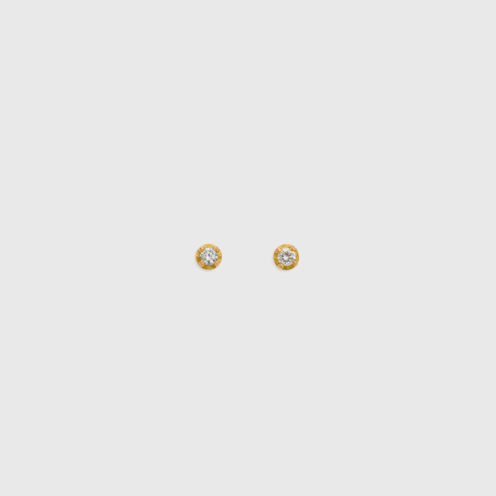 Polaris White Diamond Studs - 18k Yellow Gold