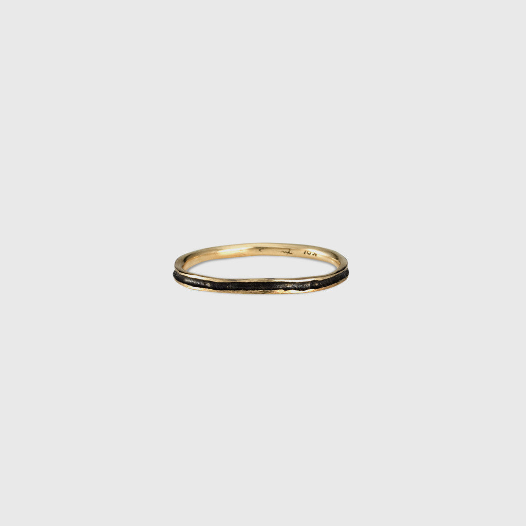 Black Rhodium Band Ring - 18K Yellow Gold
