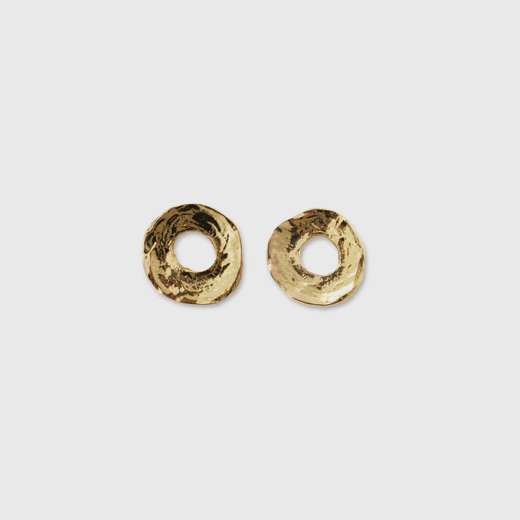 Medium Textured Donut Earrings - 18K Yellow Gold