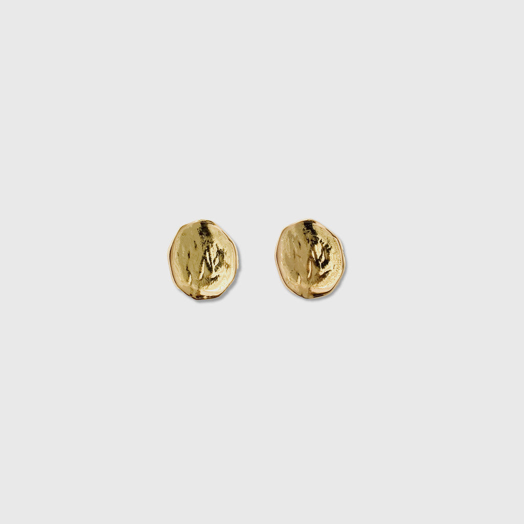 Small Textured Disc Earrings - 18K Yellow Gold