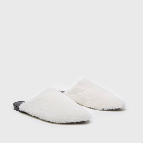Mule Slide - White Shearling