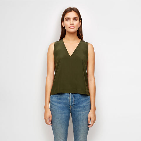 Silk V-Neck Shell - Olive