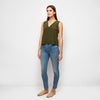 Silk V-Neck Shell Tank - Olive
