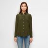 Silk Placket-Back Boyfriend Shirt - Olive