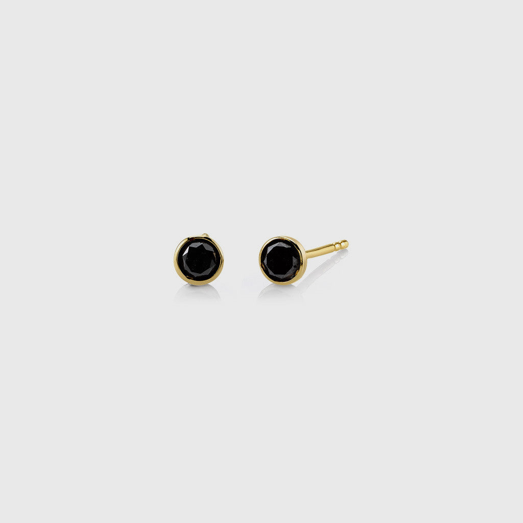 Bezel Black Diamond Stud Earrings