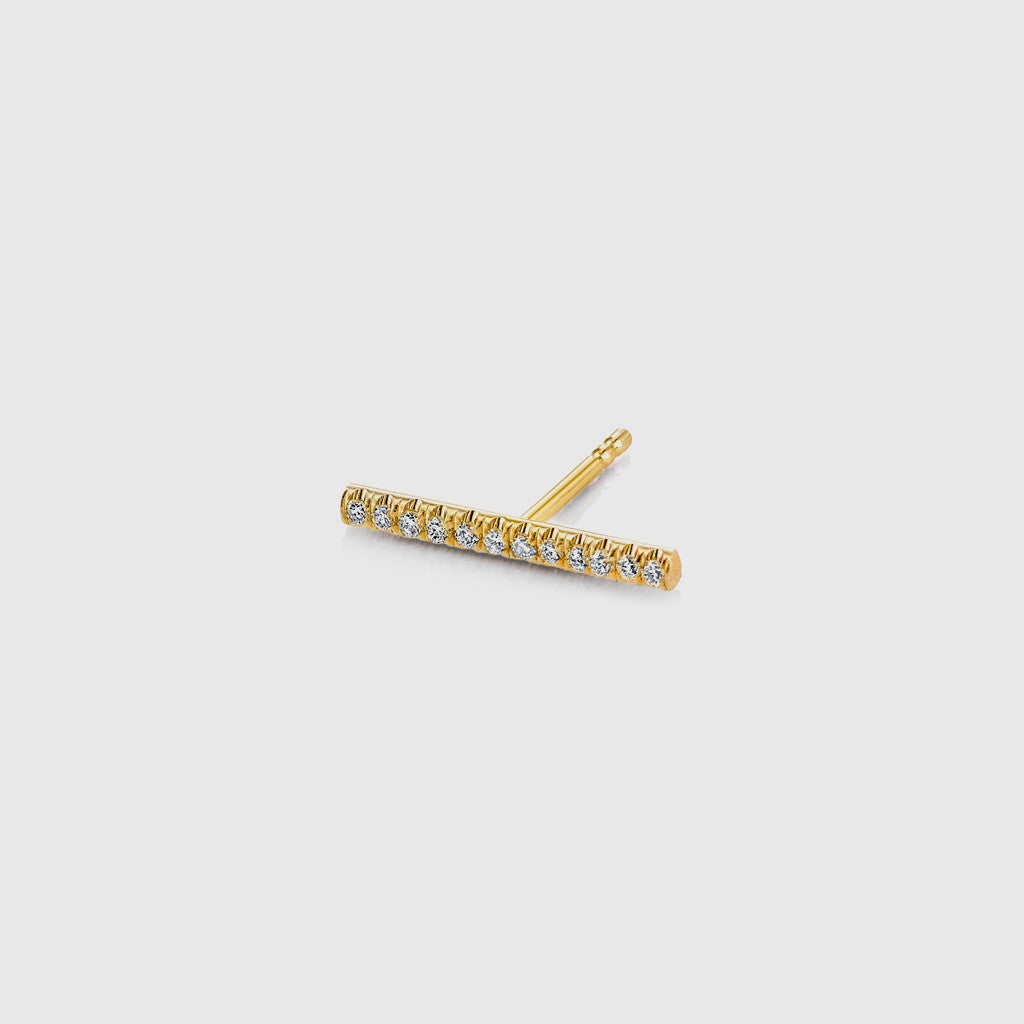 Long Pave White Diamond Bar Stud Earring