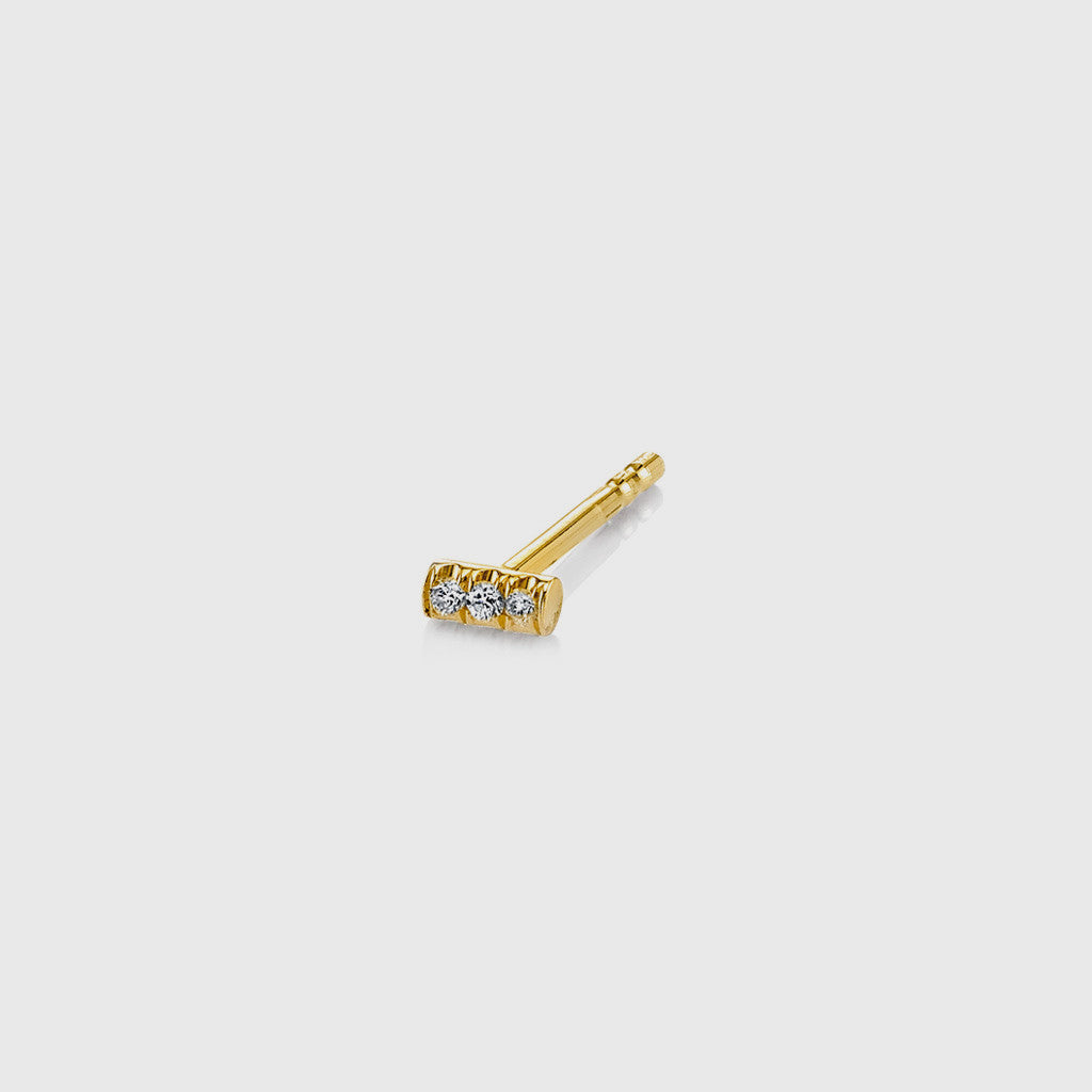 Mini Pave White Diamond Bar Stud Earring