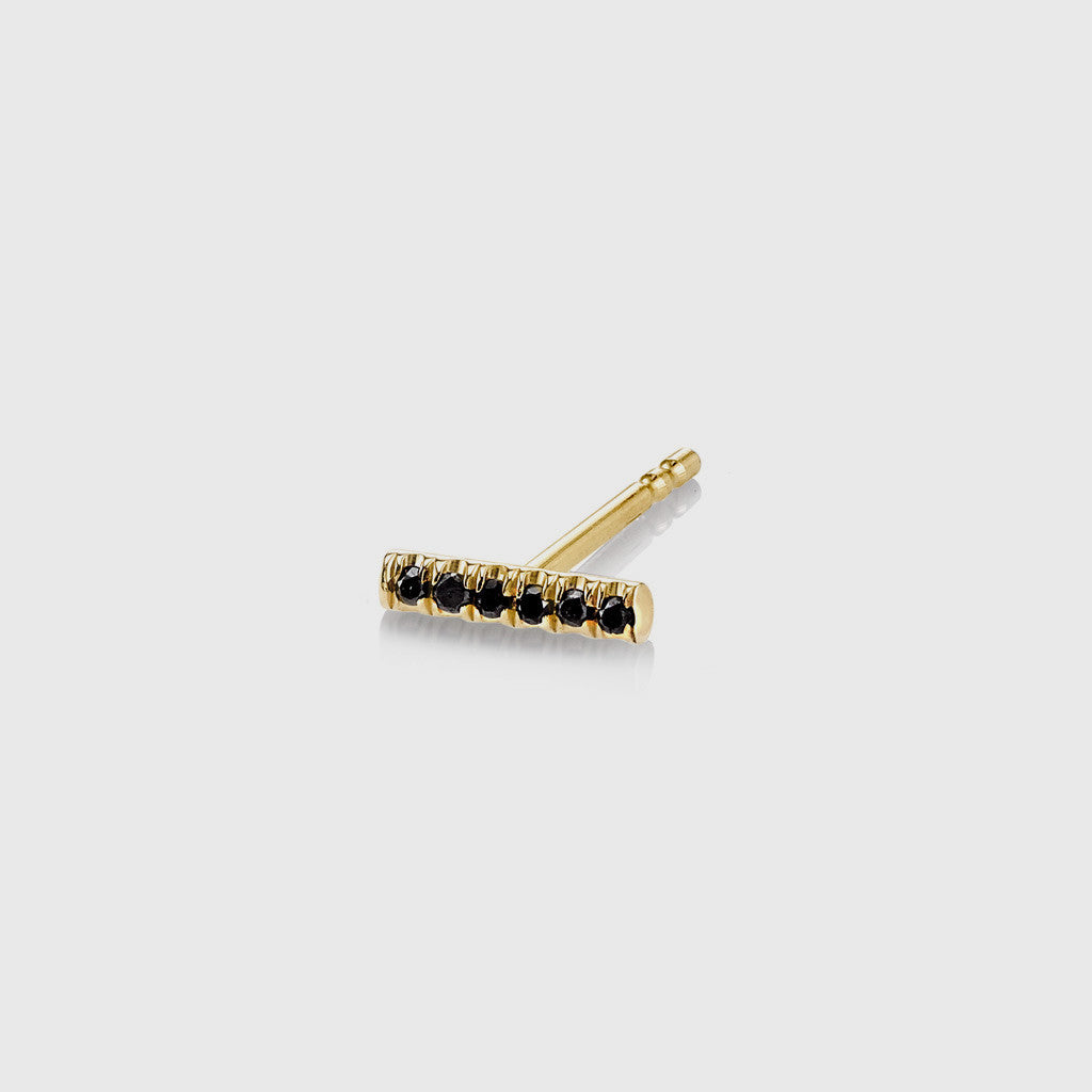 Pave Black Diamond Bar Stud Earring