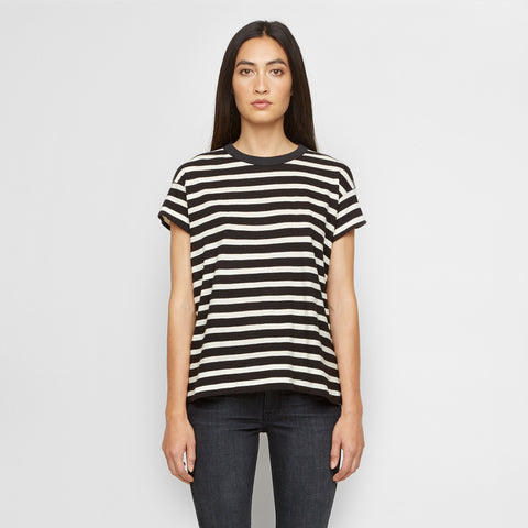 The Boxy Crew - Black/White Stripe