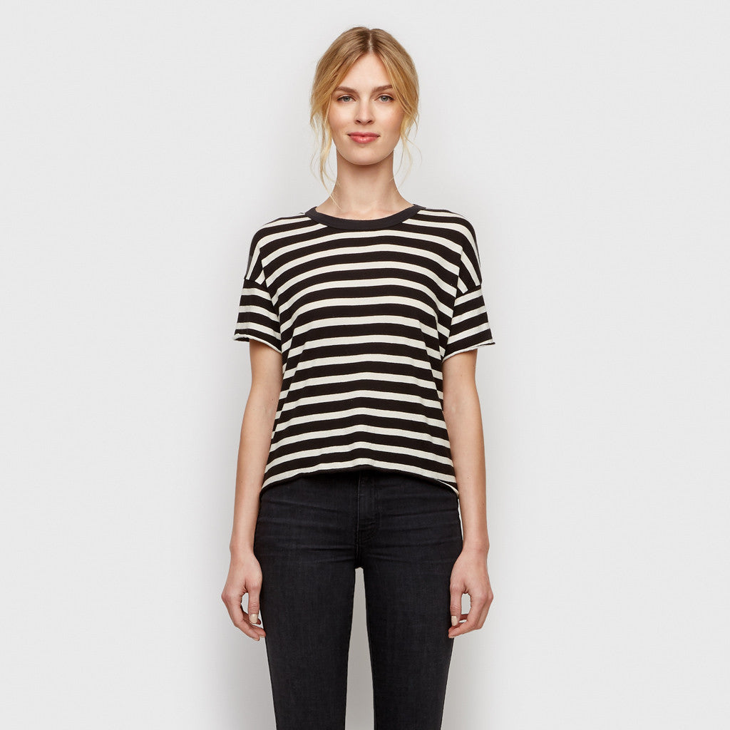 The Cropped Tee - Black/Cream Stripe