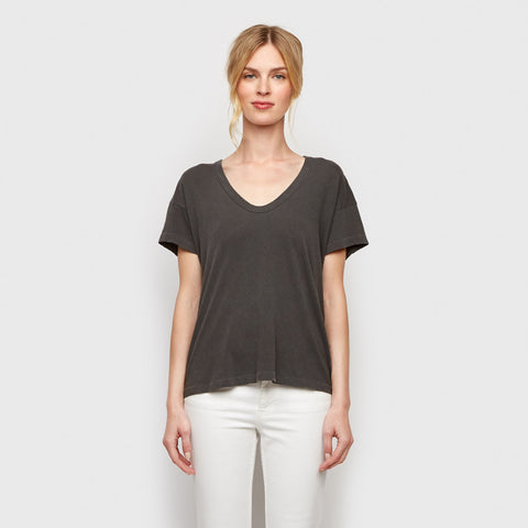 The U-Neck Tee - Washed Black