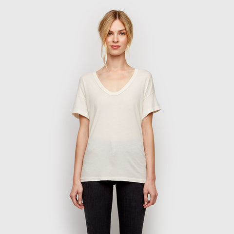 The U-Neck Tee - Washed White