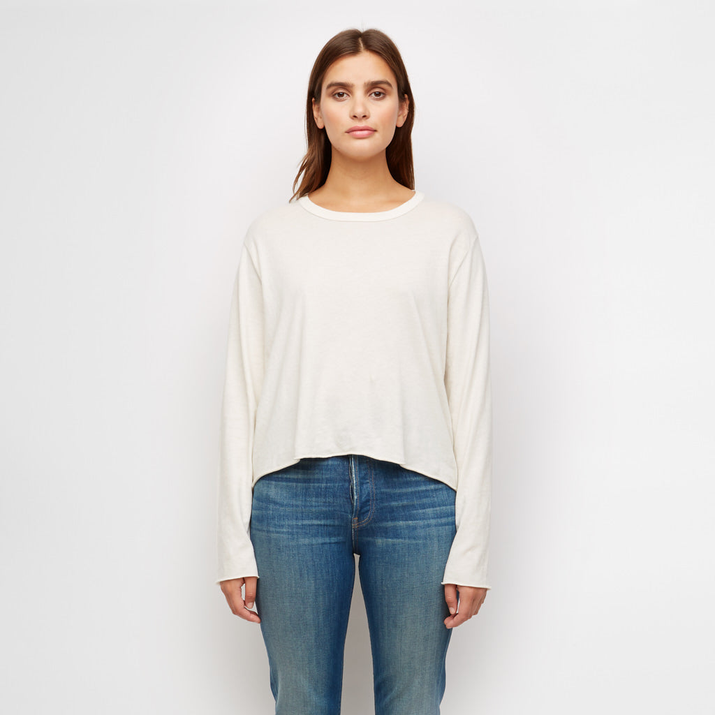 The Long Sleeve Crop Tee - Washed White