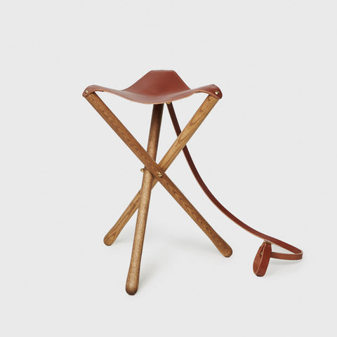 Leather Camp Stool - Chestnut