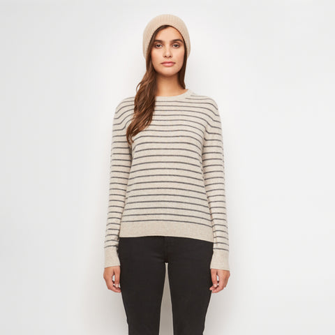 Wool Stripe Cropped Sweater - Stone/Grey