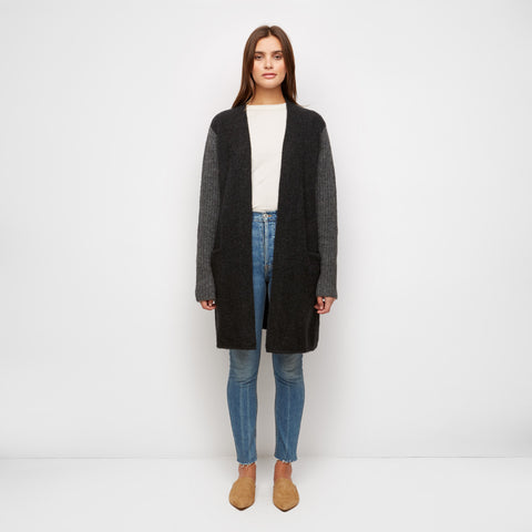 Ribbed Sweater Coat - Charcoal/Grey