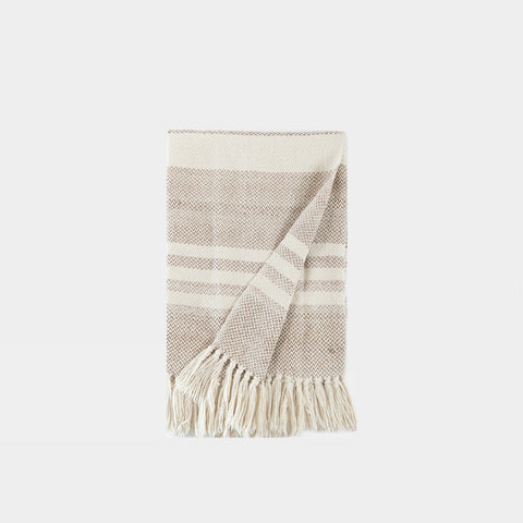 Striped Wool Throw Blanket - Natural/Camel