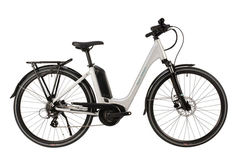 "Raleigh-Motus Step Through-Classic ebike-Silver-46cm Frame 26"" Wheel-urban.ebikes"