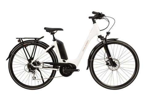 "Raleigh-Motus Tour Step Through-Classic ebike-White-46cm Frame 26"" Wheel-Derailleur-urban.ebikes"