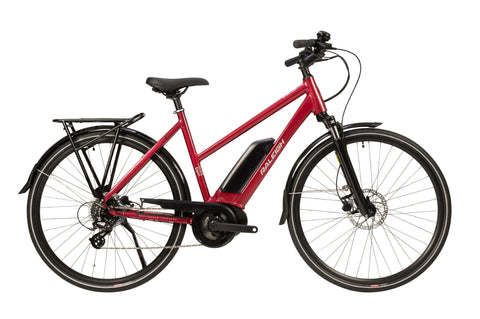 Raleigh-Motus Open Frame Electric Bike Step Through Red-Classic ebike-urban.ebikes