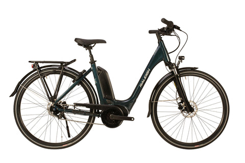 "Raleigh-Motus Grand Tour Electric Bike Step Through Blue-Classic ebike-46cm Frame 26"" Wheel-Derailleur-urban.ebikes"