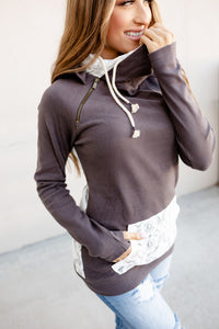 DoubleHood™ Sweatshirt - Charcoal Lace