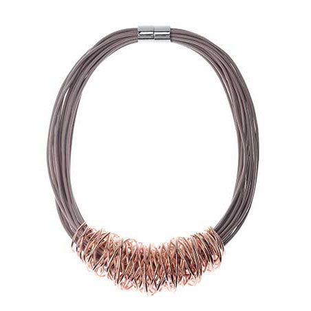 Amalfi Necklace - Camel & Rose Gold