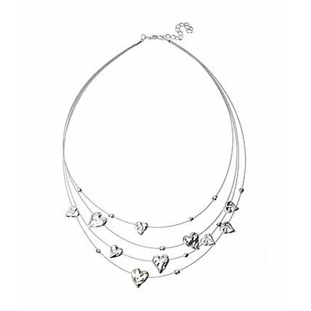 Angelica Hearts Necklace - Silver