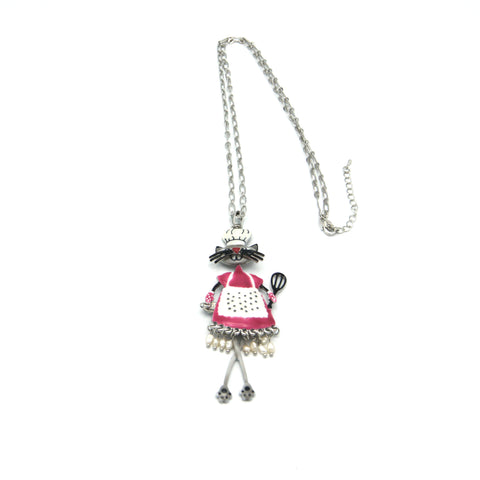 Cooking Cat Enamel Necklace - Long