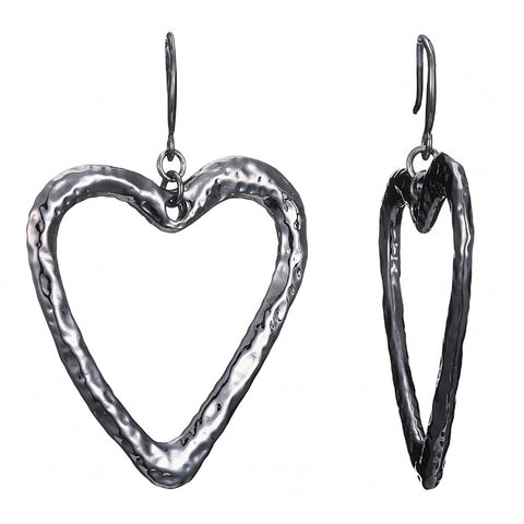 French Heart earrings - Hematite