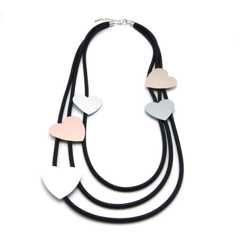 Heart Extravaganza Long Necklace - Silver & Light Rose Gold