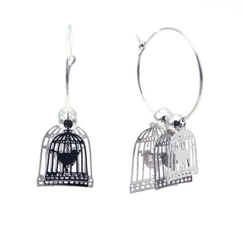 Live Bird Cage Earrings