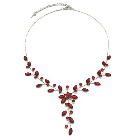 Pretty Flower Necklace - red