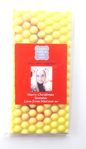 Christmas Gift Personalised Wax Melt Snap Bar - Candles Sniffs & Gifts